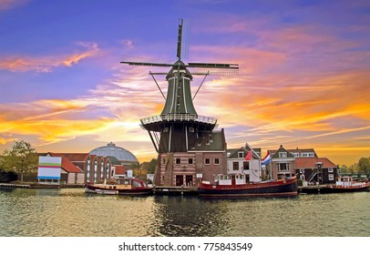 Medieval Adriaan Windmill in Haarlem the Netherlands at sunset