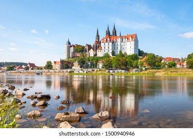 Medieval Albrechtsburg castle and gothic cathedral in Meissen town on Elbe river, Saxony, Germany