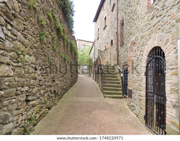 Medieval alley of Castel Rigone a village in Umbria, Italy