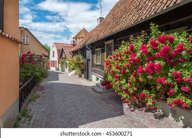 Medieval alley in the historic Hanse town Visby during summer in Sweden.