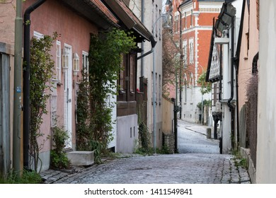 Medieval alley in the historic town Visby on Swedish Baltic sea island Gotland