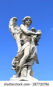 medieval angel statue of Castle Saint Angelo, Rome
