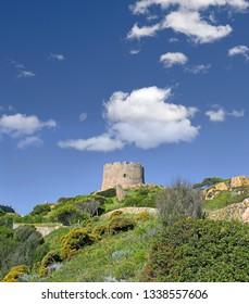 Medieval aragon tower of Santa Teresa di Gallura in Sardinia, Italy