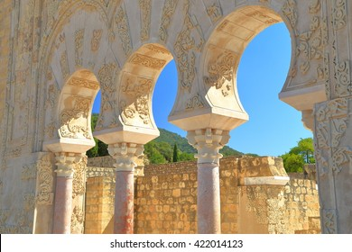 Medieval arches resting on marble columns at the House of Jafar in Medina Azahara, Cordoba, Andalusia, Spain