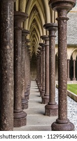 Medieval Architectural Columns in Courtyard of Cathedral at Mont St Michel in France