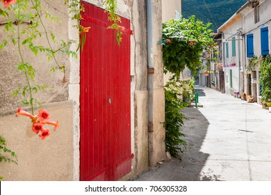 Medieval architecture in southern european style. Characteristic style features of the provence and the cote d'azur in the mountain village Die, near Valence in France