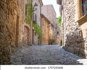 Medieval architecture street in Peratallada town in Catalonia, Spain