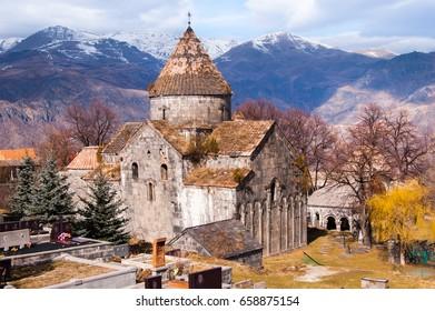Medieval Armenian Apostolic church in Armenia. Sanahin Monastery, 10 century. Old architecture in Armenia.