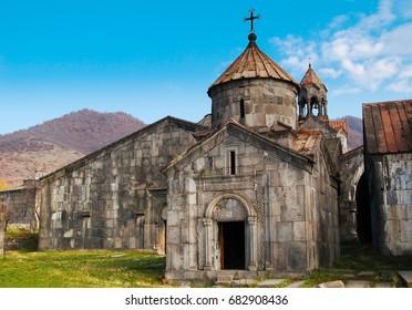 Medieval Armenian apostolic monastery / church. Haghpat monastery. Concept of travel, exploration, pilgrimage.