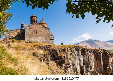 Medieval armenian monastery Saghmosavank, located near  gorge of Kassakh river. Ashtarak district, Armenia