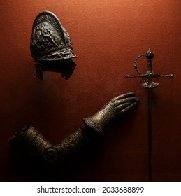 medieval armor made of wrought iron. knight helmet iron medieval age armor, decoration in historical museum.  - Shutterstock ID 2033688899