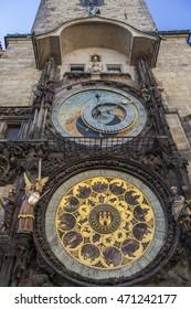 Medieval Astronomic clock (Orloj) on the Old Town Hall tower at Staromestska square in Prague