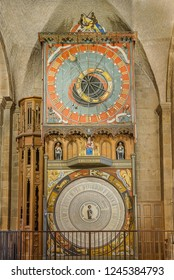 medieval astronomical clock in Lund cathedral, Lund, Sweden, November 16, 2018