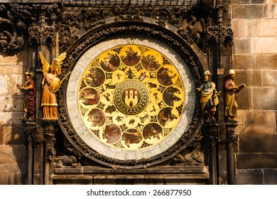 Medieval astronomical clock on tower in Prague, Czech Republic