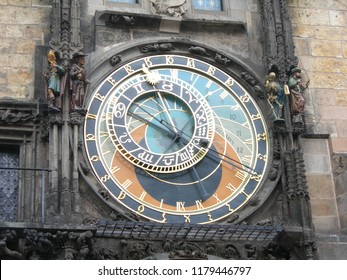 Medieval astronomical clock Orloj, located in Prague, Czech Republic, mounted on southern wall of Old Town City Hall in the Old Town Square.