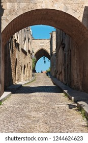 Medieval Avenue of the Knights. Greece. Rhodos island. Old town. Street of the Knights photo (Now Embassy street)