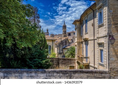 Medieval backstreets in the city of Uzes, Gard Department, France