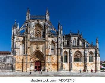 Medieval Batalha Monastery in Batalha, Portugal, a prime example of Portuguese Gothic architecture, UNESCO World Heritage site, started in 1386 but never actually completed.