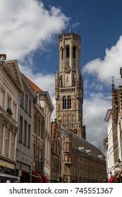 Medieval belfry. Streets and squares of Bruges, Belgium