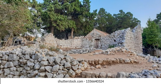 The medieval Benedictine Monastery on the lake Jezero in the national park of Mljet, Croatia, with its ruins and old stones during sunset