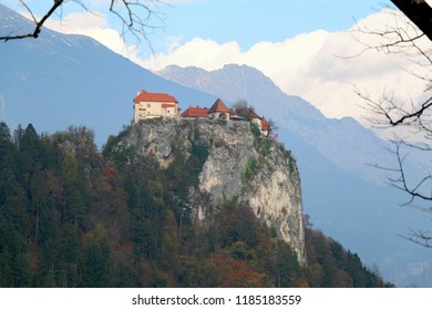 Medieval Bled Castle on the cliff above Lake Bled. Lake Bled is a popular travel destination in Slovenia.
