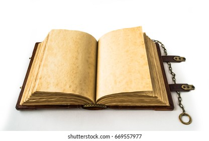 Medieval book opened on the white background