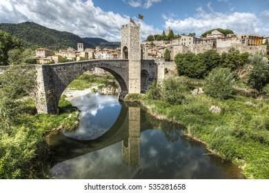 Medieval bridge of Besalu. Gerona. Spain