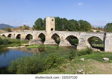 Medieval bridge of Frias in Burgos, Spain