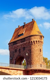 Medieval bridge gate in Miltenberg on Main river, Lower Franconia, Bavaria, Germany.