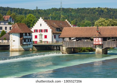 Medieval bridge over the Reuss river in Bremgarten, which is a municipality in the Swiss canton of Aargau with its medieval old town is listed as a heritage site of national significance.