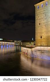 medieval bridge Ponts Couverts from the Barrage Vauban in Strasbourg France