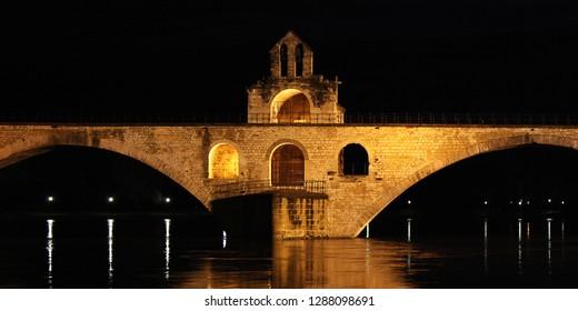 medieval bridge in the town of Avignon