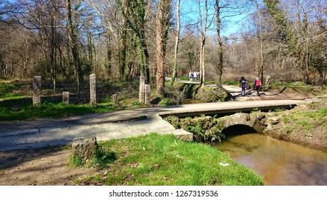 Medieval bridge in Tui (Way of Santiago), Spain