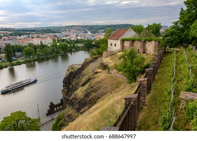 Medieval building on a rock in Vysehrad, Prague, Czech Republic