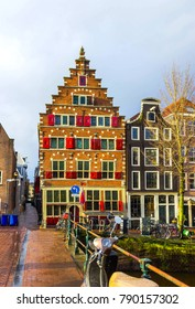 Medieval buildings in Amsterdam the Netherlands