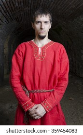 medieval Bulgarian in red ancient cloths