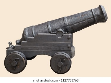 Medieval cannon Gunpowder artillery in the Middle Ages, on a reenactment, isolated on white background