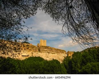 Medieval castle at Alcala del Jucar in Castilla la Mancha, Spain