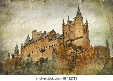 medieval castle Alcazar, Segovia,Spain- picture in paintig style
