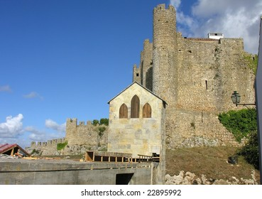 Medieval castle architecture at Obidos Portugal