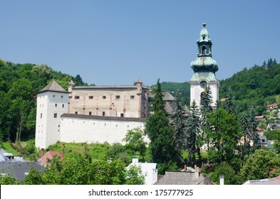 Medieval castle of Banska Stiavnica with baroque church, Slovakia