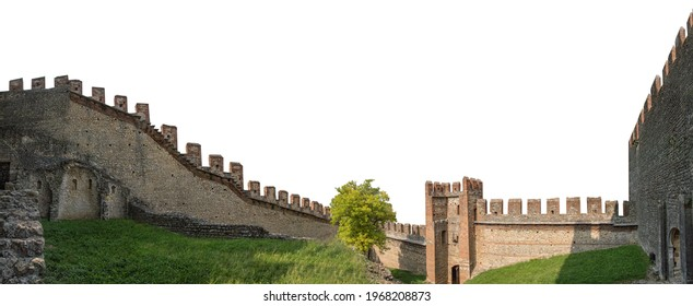 Medieval castle battlement isolated on white background