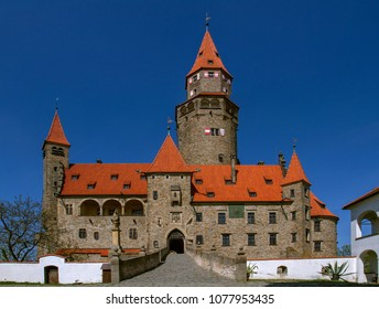 "Medieval Castle ""Bouzov""  a background of the blue sky. Located in the South Moravia region in Czech republic, Europe."