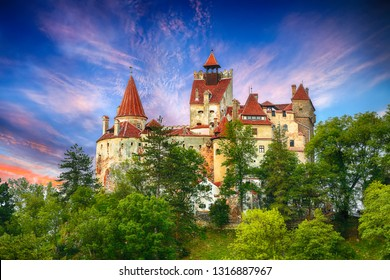 The medieval Castle of Bran known for the myth of Dracula. Brasov Transylvania. Romania. Europe