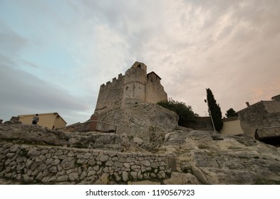 Medieval Castle of Calafell at sunset