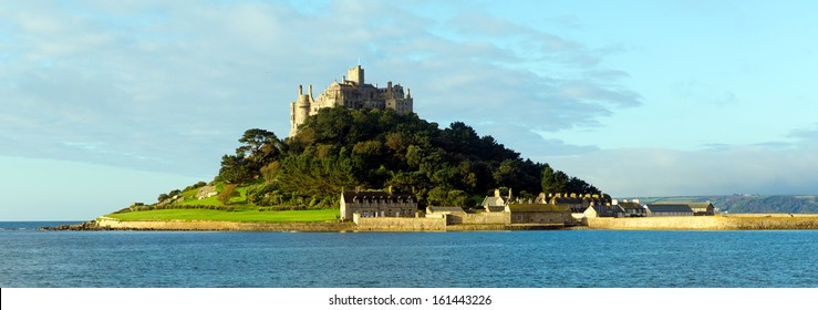 Medieval castle and church on island St Michaels Mount Cornwall England in Mounts Bay