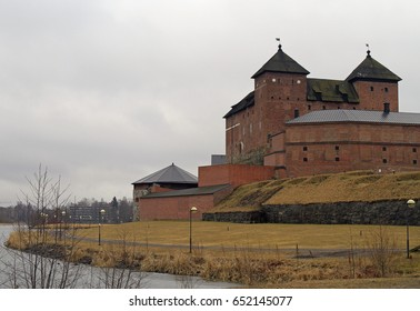 Medieval castle in the city of Hameenlinna, Finland at spring