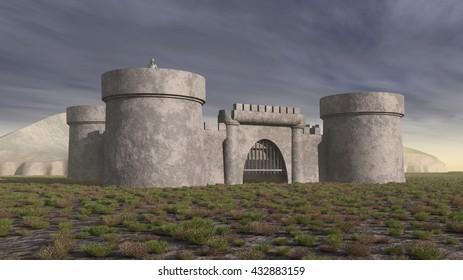 Medieval castle Computer generated 3D illustration