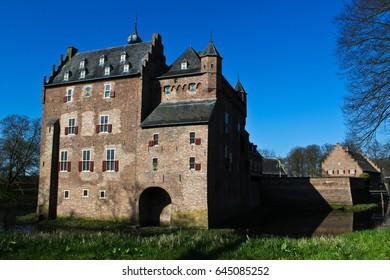 Medieval castle Doorwerth in the Netherlands in april