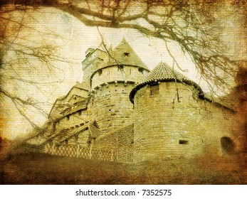 medieval castle (France) - picture in retro style
